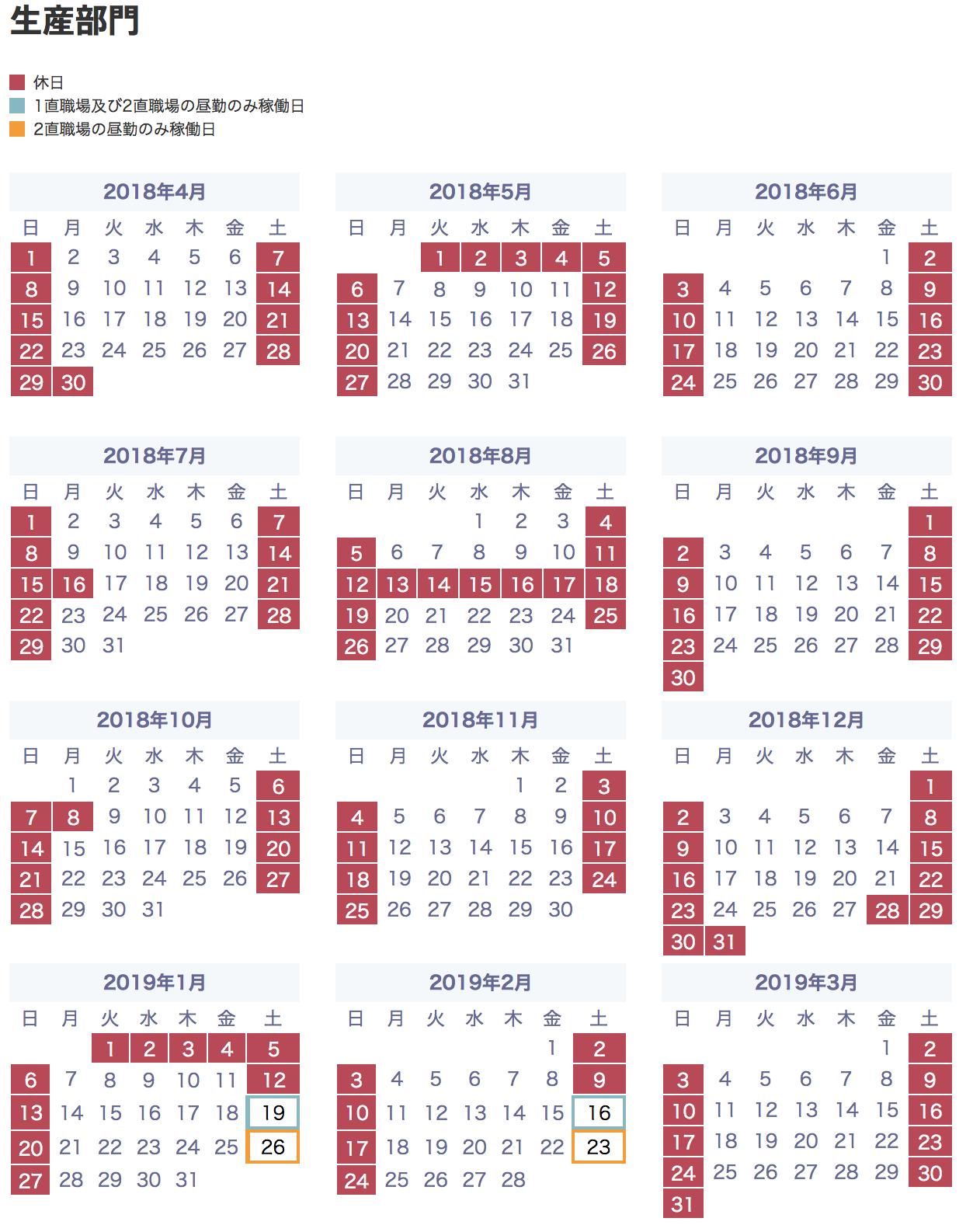 カレンダー 2020 トヨタ